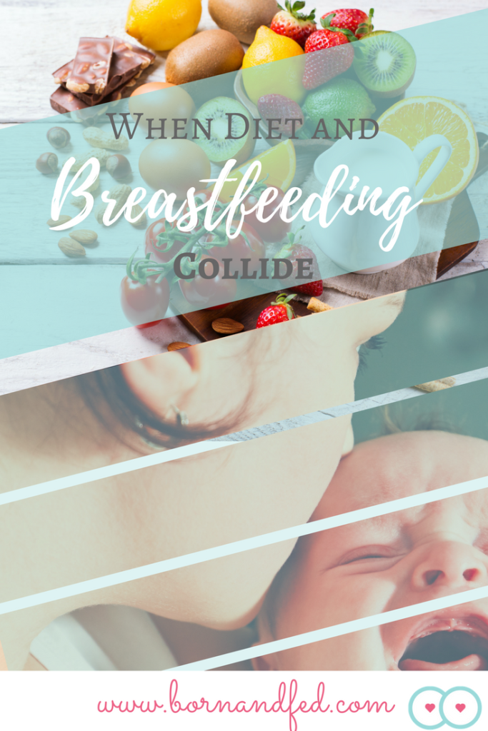 #bornandfed, What happens when a breastfeeding mother's diet is causing trouble for her baby? Does this mean baby has food allergies? Find out how to help your baby now. Total exclusion diet, breastfeeding diet, Fussy Baby, Fussy Baby Remedies, Infant Reflux, Infant GERD, Infant Reflux Symptoms, Infant Reflux Remedies, Fussy Baby at Night, Colic Baby, Colic Baby Symptoms, Colic Baby Tips, Colic Baby Remedies, Colic Baby Breastfeeding, Colic Baby Newborn, Food Allergies, Dairy Intolerance