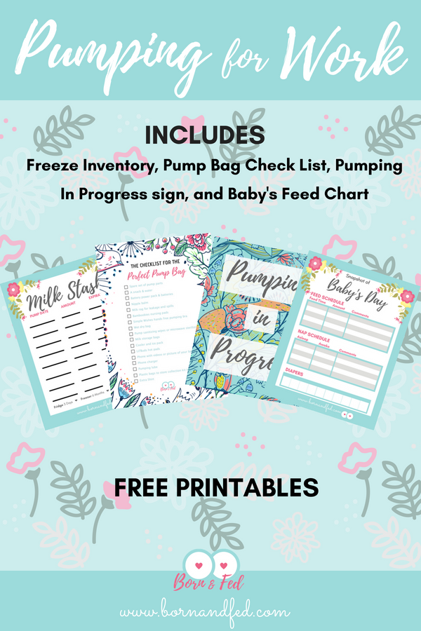#bornandfed- Heading back to work after maternity leave? If you are planning on pumping at work, these free printables are for you! Included a Freezer Inventory Sheet, a Checklist for your Pump bag with hot links for your convenience, Pumping in Progress sign for your door, and Baby's Day Report Sheet. #breastfeedingmom #pumpingmom #pumpingtips #pumpingatwork #pumpingmilk #freezingmilk #pumpbag
