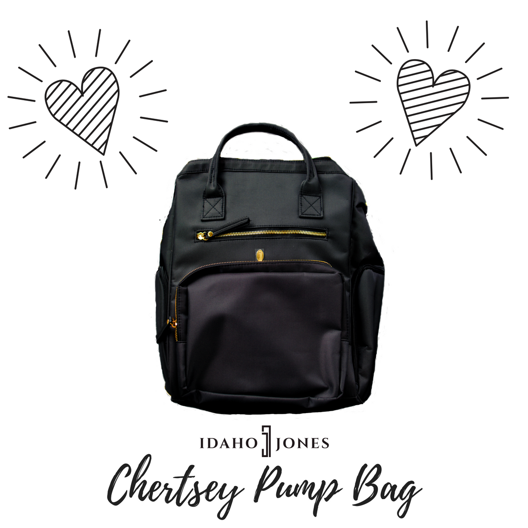 #bornandfed- The Idaho Jones Chertsey bag is an elegant combination of style and function for the working pumping mom. It simplifies life by giving you enough useful storage to streamline your bag situation and make it possible for you to get all your personal and pumping gear in one bag.  HOUZZA!  Check out why I love this #pumpingbag along with a free printable list to help you pack your pump bag. #sponsored #affiliate #idahojones #bestpumpbag #pumpingmom #pumpingatwork
