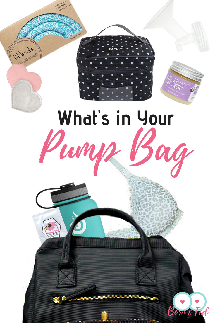 #bornandfed- What should you be packing in your pump bag?  Having a well packed and functional bag can make pumping just a little less painful and ultimately help you succeed at pumping at work.  Included is a handy FREE printable with clickable links to help pumping moms get your pump bag well stocked before returning to work!  #pumpingmom #pumpingatwork #pumpbag #idahojones #affiliate #sponsored