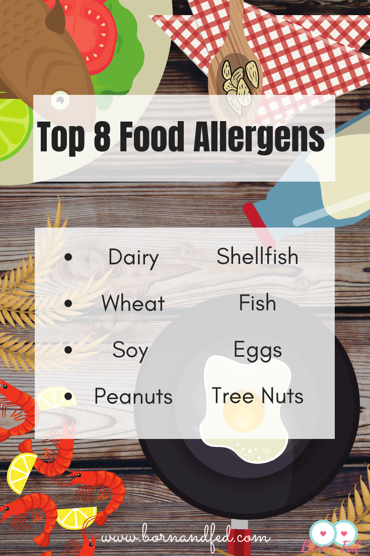 #bornandfed- The Big 8, Top 8 Food Allergens.  If you are a breastfeeding mother and you are looking to eliminate foods from your diet that could be impacting your baby, consider these 8 foods first.  To read more about how your diet can affect your baby, click here.  #totalelimationdiet #breastfeedingdiet #breastfeedingtips #colickybaby #infantreflux #infantrefluxdiet