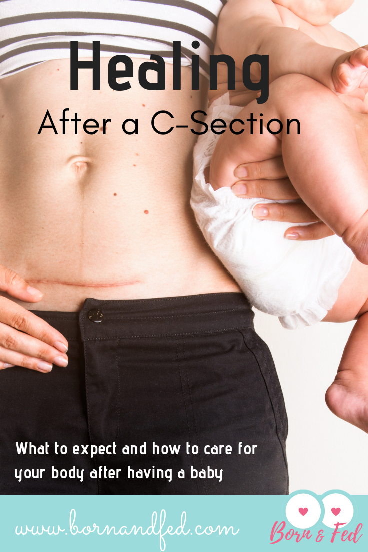 #bornandfed- how to care for your body after a c-section.  Review what to expect in the hospital, pain management, and preparing for life at home. #csectionrecovery #postpartumtips #4thtrimester